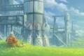 Картинка трава, горы, бабочка, планета, космонавт, скафандр, ракеты