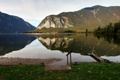 Картинка трава, горы, озеро, гладь, отражение, перила