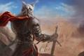 Картинка красный, меч, воин, арт, плащ, доспех