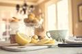 Картинка стол, лимон, нож, ломтики, нарезка