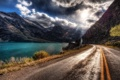 Картинка дорога, асфальт, солнце, облака, свет, линии, блики