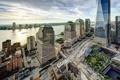 Картинка World Financial Center, Всемирный финансовый центр, здания, река Гудзон, Hudson River, Нью-Йорк, панорама