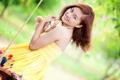 Картинка девушка, качели, настроение, азиатка