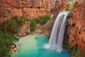 Картинка деревья, горы, скалы, озеро, водопад