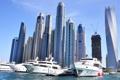 Картинка порт, harbor, Dubai, дубай, Skyscrapers, небоскребы, яхты