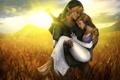 Картинка закат, эльф, Link, Zelda, поле, The Legend of Zelda, девушка