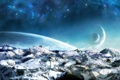 Картинка ice, science fiction, mountains, rocks, planets