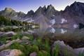 Картинка лес, трава, пейзаж, горы, озеро, камни, берег
