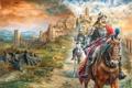 Картинка город, фантастика, война, рисунок, fantasy, всадники, war