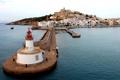 Картинка море, небо, город, маяк, остров, дома, Испания