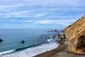 Картинка море, волны, небо, облака, камни, берег