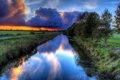 Картинка дорога, солнце, облака, деревья, закат, природа, река