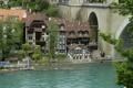 Картинка деревья, мост, река, дома, Швейцария, опора, Берн