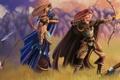 Картинка поле, трава, девушка, горы, оружие, огонь, лук