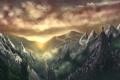 Картинка небо, горы, тучи, туман, рассвет, человек