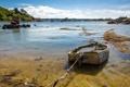 Картинка пейзаж, озеро, лодка