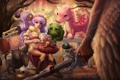 Картинка девушка, кровь, дракон, меч, арт, существа, рога