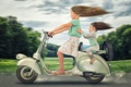 Картинка дети, девочки, скорость, Vespa