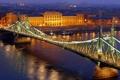 Картинка дорога, река, здание, освещение, подсветка, фонари, Венгрия