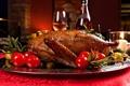 Картинка блюдо, красное, вино, бокал, помидоры, бутылка