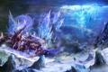 Картинка скалы, монстр, меч, арт, кристаллы, путник, гигантский
