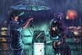 Картинка трава, девушка, цветы, дождь, собака, зонт, аниме