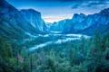 Картинка лес, небо, деревья, горы, туман, водопад, долина