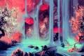 Картинка река, камни, дерево, водопад, арт, зонты