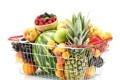 Картинка яблоки, сливы, корзина, ананас, фрукты, малина, абрикосы