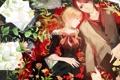Картинка девушка, цветы, бумага, пара, кружка, парень, локоны