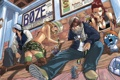 Картинка happy, сидят, Fairy Tail, Нацу, Люси, Эрза, грэй