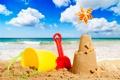 Картинка песок, море, пляж, небо, облака, башня, ведро