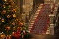 Картинка праздник, ковер, елка, свечи, лестница, подарки