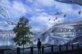 Картинка город, будущее, река, люди, водопад, арт, Jonathan Powell