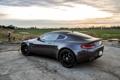 Картинка дорога, закат, Aston Martin, вид сзади, grey, Астон Мартин, гидрант