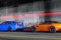 Картинка blue, родстер, Jaguars, седан, orange, суперкары