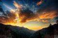 Картинка небо, облака, закат, горы, даль, photographer, Aaron Woodall