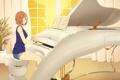 Картинка белый, девушка, музыка, комната, рояль, арт, музыкальный инструмент