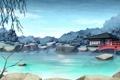Картинка пейзаж, мост, пруд, река, камни, дерево, азия