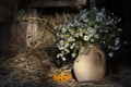 Картинка цветы, ромашки, сено, ваза