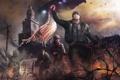 Картинка война, башня, флаг, арт, солдаты, повстанец, Homefront: The Revolution