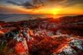 Картинка море, небо, солнце, закат, камни, берег, норвегия