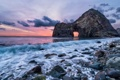Картинка море, пейзаж, закат, скала