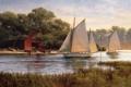 Картинка озеро, река, лодки, парус, живопись, boat house, By The Old Boat House