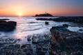 Картинка море, солнце, закат, маяк, Англия, вечер, Michael Breitung