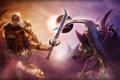 Картинка оружие, девушки, противостояние, доспехи, затмение, League of Legends, LoL