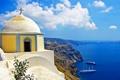 Картинка море, облака, скалы, берег, остров, корабли, Греция