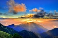 Картинка лес, горы, рассвет, солнце