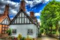Картинка облака, улочки, фонарь, Little Budworth, Англия, обработка, деревья