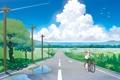 Картинка дорога, небо, облака, природа, велосипед, провода, аниме